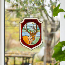 Load image into Gallery viewer, Panel of stained glass depicting a deer in the forest for window decoration