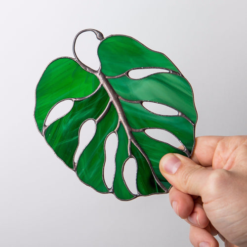 Stained glass monstera leaf suncatcher for window decoration