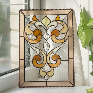Stained glass rectangular panel with beveled inserts and ringlets