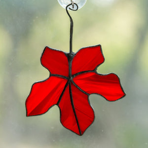 Red stained glass maple leaf window hanging