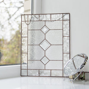 Clear beveled panel of stained glass for window