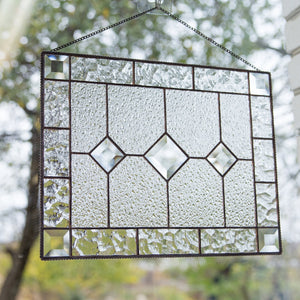 Stained glass clear beveled panel with faceted inserts for window decoration