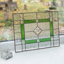Load image into Gallery viewer, Horizontal stained glass green beveled panel