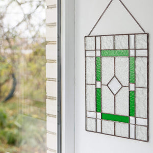 Stained glass clear panel with green and beveled inserts for home decoration