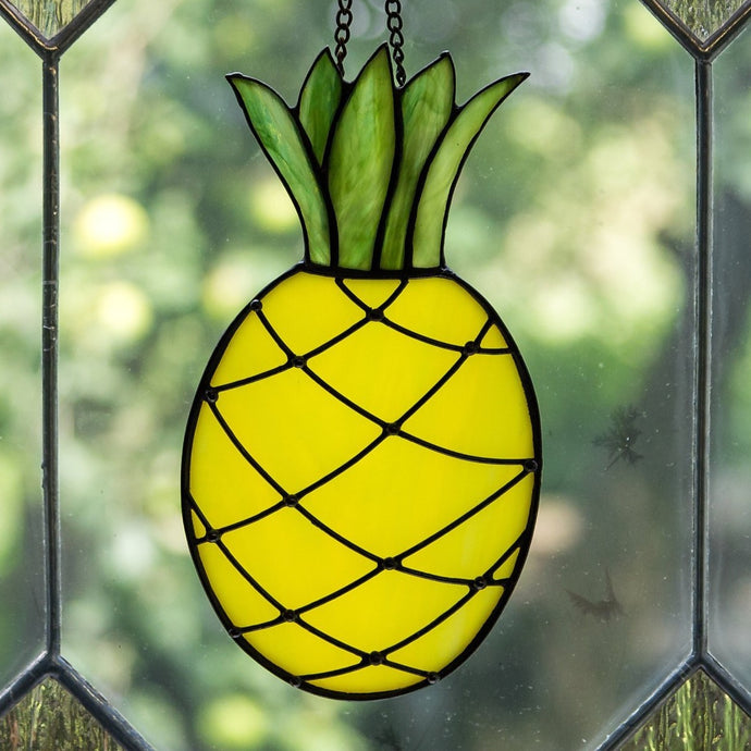 Stained glass pineapple suncatcher for kitchen decor