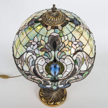 Load image into Gallery viewer, Top view of stained glass green Tiffany lampshade with its markings