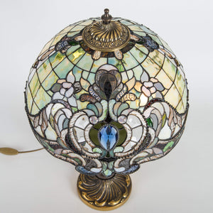 Top view of stained glass green Tiffany lampshade with its markings