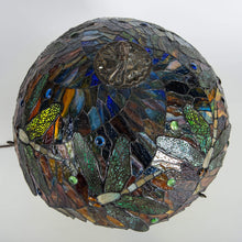 Load image into Gallery viewer, Top view of stained glass dragonfly mosaic lamp shade