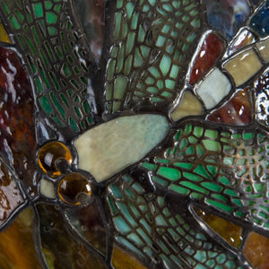 Zoomed stained glass dragonfly on mosaic dragonfly lamp