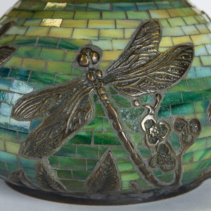 Zoomed stained glass mosaic dragonfly lamp base of green colour