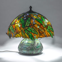 Load image into Gallery viewer, Stained Glass Mosaic Lamp decorated with dragonflies