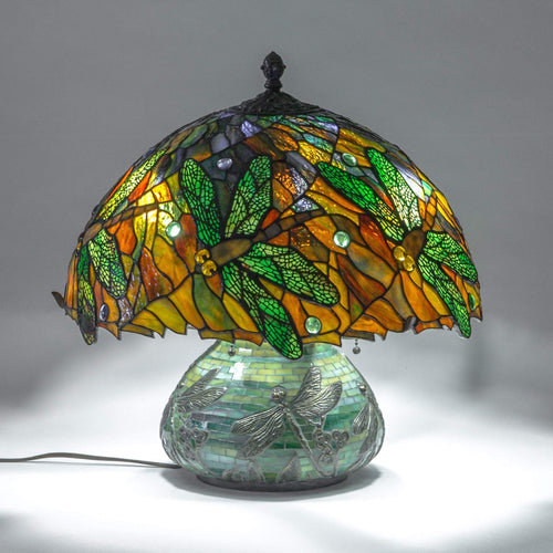 Stained glass mosaic lamp decorated with dragonflies for home decor