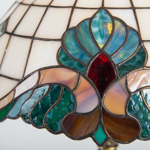 Zoomed stained glass bedside Tiffany lamp with green, red and brown inserts