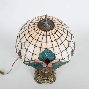 Top view of stained glass white and beige Tiffany lamp
