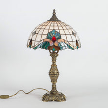Load image into Gallery viewer, Stained glass Tiffany lamp with engraving on its base
