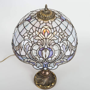 Top view of stained glass Tiffany lamp with purple markings
