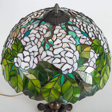 Load image into Gallery viewer, Top view of stained glass green and white lampshade