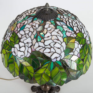 Top view of stained glass green and white lampshade