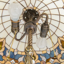 Load image into Gallery viewer, The inner view of stained glass Tiffany lamp of beige shades