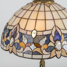 Load image into Gallery viewer, Zoomed stained glass lamp shade in beige with blue markings