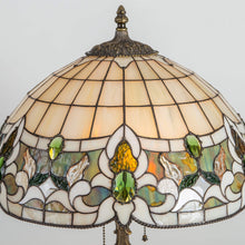 Load image into Gallery viewer, Zoomed stained glass lamp shade in Tiffany style with green inserts
