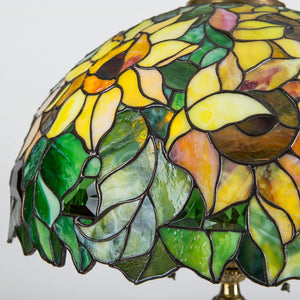 Zoomed stained glass lampshade depicting sunflowers
