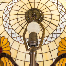 Load image into Gallery viewer, Stained glass beige Tiffany lampshade from the inside