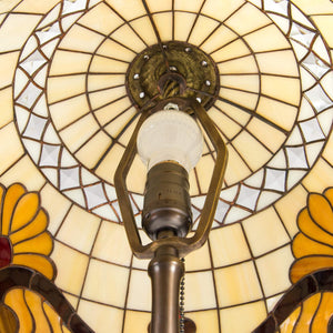 Stained glass beige Tiffany lampshade from the inside