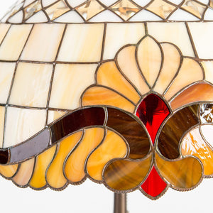 Zoomed stained glass Tiffany lampshade with red inserts and markings