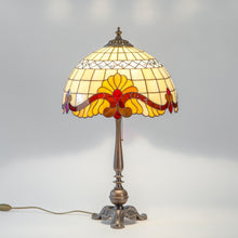 Load image into Gallery viewer, Beige stained glass Tiffany lamp with red inserts