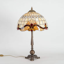 Load image into Gallery viewer, Stained glass Tiffany lamp with red inserts and bronze base