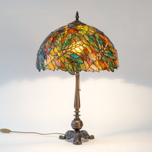 Load image into Gallery viewer, Colourful stained glass Tiffany lamp depicting dragonflies