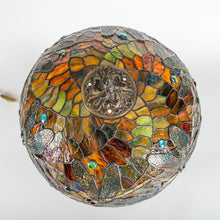 Load image into Gallery viewer, Top view of stained glass dragonfly lamp shade
