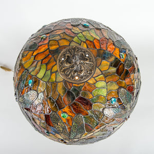Top view of stained glass dragonfly lamp shade