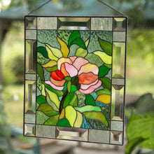 Load image into Gallery viewer, Stained glass panel depicting peony flower with leaves on the background