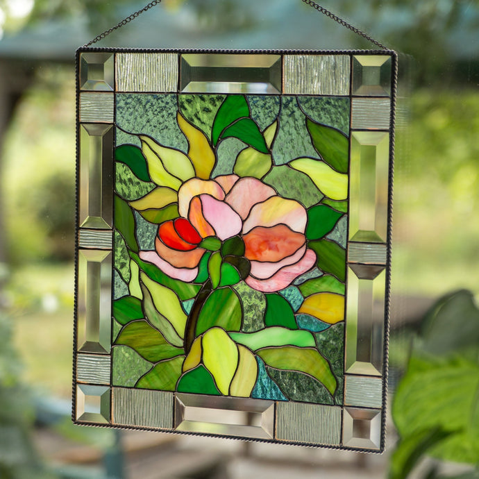 Stained glass panel depicting peony flower with leaves on the background