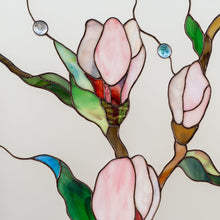 Load image into Gallery viewer, Zoomed stained glass magnolia flowers with beveled inserts panel for home decor