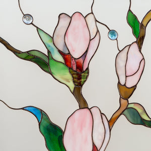 Zoomed stained glass magnolia flowers with beveled inserts panel for home decor