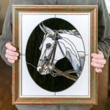 Load image into Gallery viewer, Custom stained glass panel horse portrait mom gift pet loss gifts