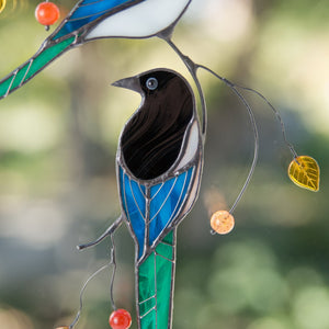 Zoomed stained glass magpie window hanging