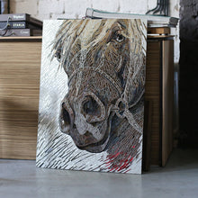Load image into Gallery viewer, Stained glass Arabian horse mirror mosaic portrait