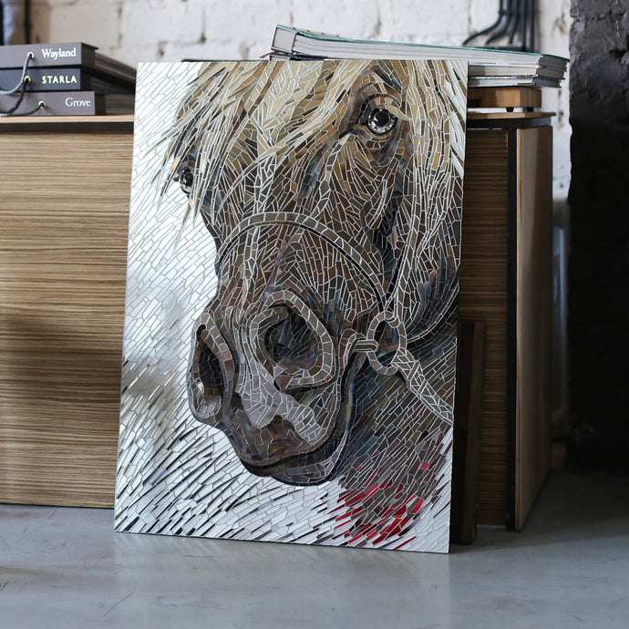 Stained glass Arabian horse portrait of mirror mosaic