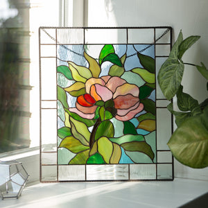 Stained glass peony flower panel for window