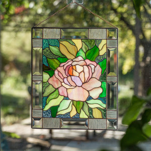 Pink peony panel of stained glass for window