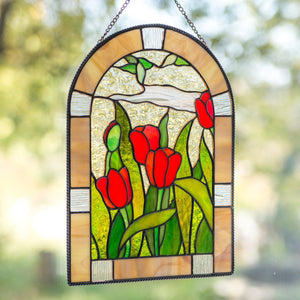 Red tulips panel of stained glass for window decoration