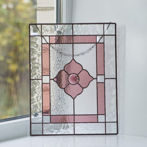 Stained glass pink beveled panel for home decor