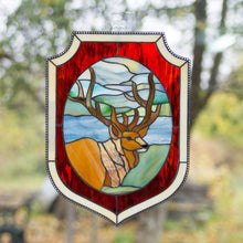 Load image into Gallery viewer, Stained glass deer in the forest environment panel with red and beige frames