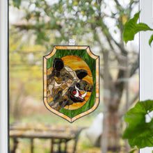 Load image into Gallery viewer, Panel of a stained glass boar for wall decoration