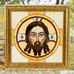 Panel of stained glass Jesus Christ portrait