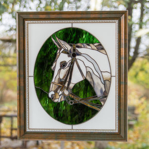 Custom stained glass panel horse portrait mom gift pet loss gifts